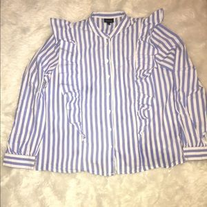 Who What Wear Ruffled Long Sleeve Button Up Large